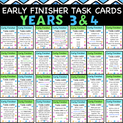 Early Finishers Task Cards 2
