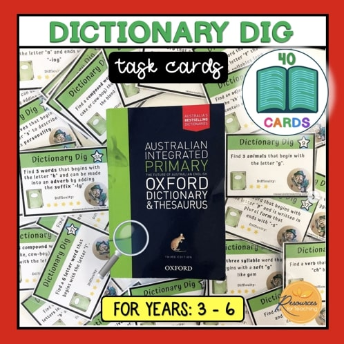Dictionary Dig Task Cards
